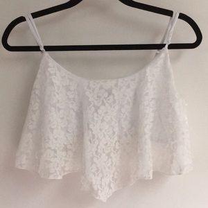 Full Tilt medium white lace crop top bandeau